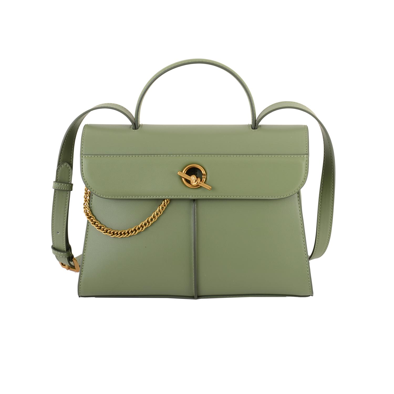 掀蓋轉釦手提包-灰綠色